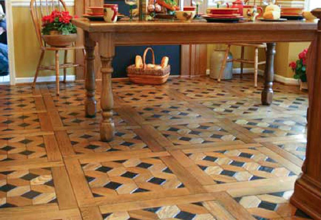 Ebony inlay handcrafted floor