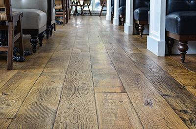 restaurant wire brush flooring